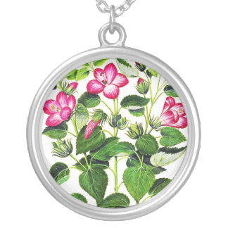 Pink Italian Hibiscus flowers, vintage print Round Pendant Necklace
