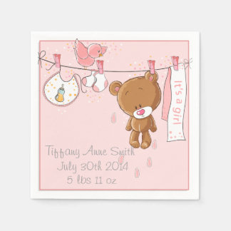Pink It's a Girl Baby Shower Party Napkins Paper Napkin