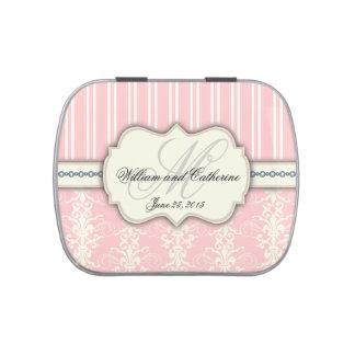 Pink & Ivory Damask Monogram Elegant Candy Tin