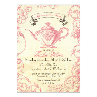 Pink Ivory Roses vintage afternoon Tea Invites
