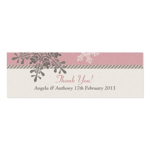 Pink Ivory Snowflake Winter Wedding Favor Tags Business Card Template