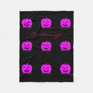 Pink Jack o'lantern Halloween Thunder_Cove Fleece Blanket
