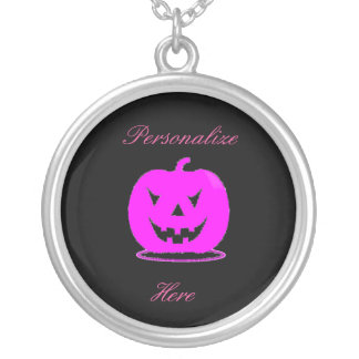 Pink Jack o'lantern Halloween Thunder_Cove Silver Plated Necklace