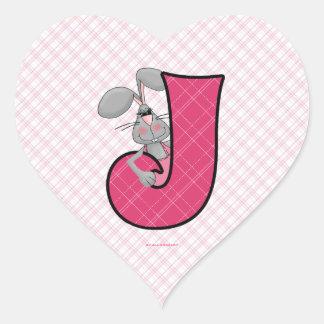 "Pink Jackrabbit Monogram ""J"" Heart Stickers"