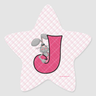 "Pink Jackrabbit Monogram ""J"" Star Stickers"