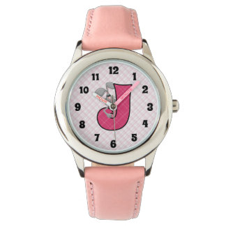 "Pink Jackrabbit Monogrammed ""J"" Girls Watch"
