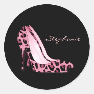Pink Jaguar Pattern Stiletto Heels Sticker