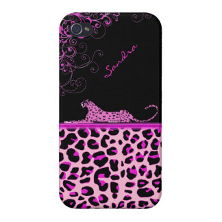 Pink Jaguar Print Custom iPhone 4 Case