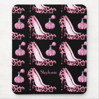 Pink Jaguar Stilettos & Purfume Bottles Custom Mouse Mat