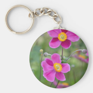 Pink japanese anemone flowers key chain