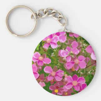 Pink japanese anemone flowers key chains