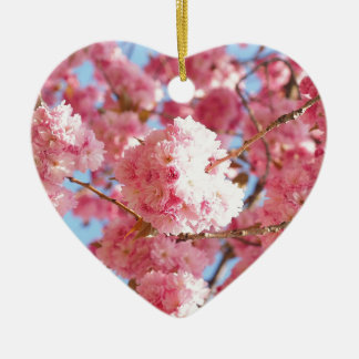 Pink Japanese Cherry Blossom Ceramic Heart Decoration