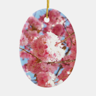 Pink Japanese Cherry Blossom Ceramic Oval Decoration