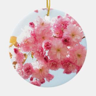 Pink Japanese Cherry Blossom Photograph Round Ceramic Decoration