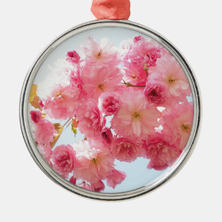 Pink Japanese Cherry Blossom Photograph Silver-Colored Round Decoration