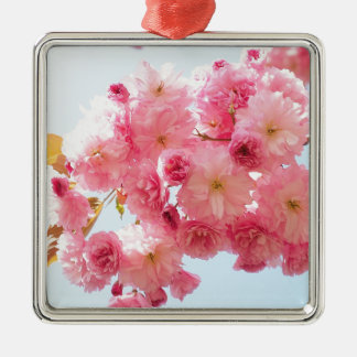 Pink Japanese Cherry Blossom Photograph Silver-Colored Square Decoration