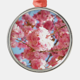 Pink Japanese Cherry Blossom Silver-Colored Round Decoration