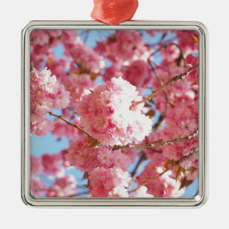 Pink Japanese Cherry Blossom Silver-Colored Square Decoration
