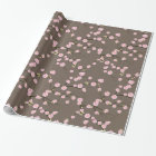 Pink Japanese Cherry Blossoms  Branches on Taupe Wrapping Paper