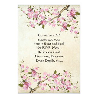 "Pink Japanese Cherry Blossoms Wedding 3.5"" X 5"" Invitation Card"