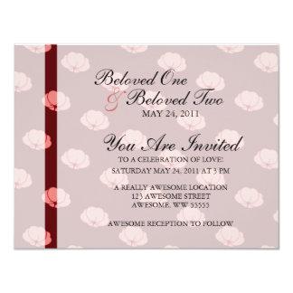 Pink Japanese Chrysanthemum Flowers 11 Cm X 14 Cm Invitation Card