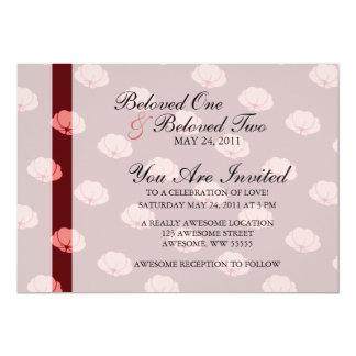 Pink Japanese Chrysanthemum Flowers 13 Cm X 18 Cm Invitation Card