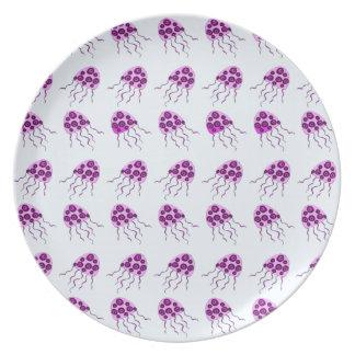 Pink jellyfish dinner plate