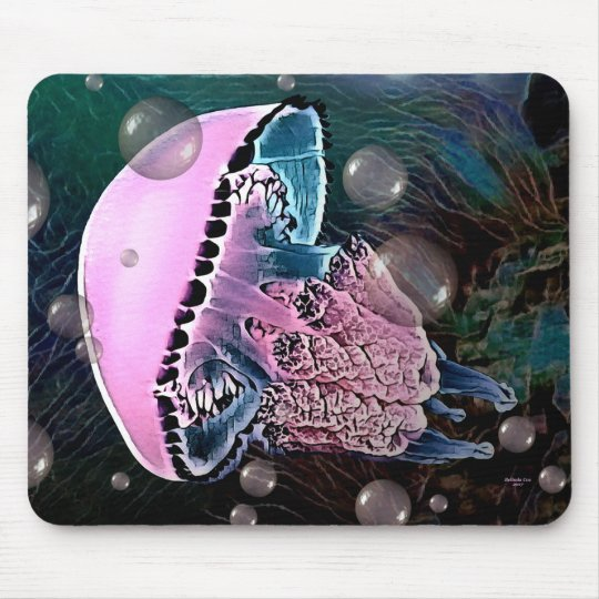 Pink Jellyfish Mouse Pad by Artful Oasis