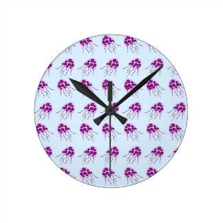 Pink jellyfish round clock