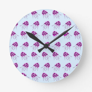 Pink jellyfish wall clock