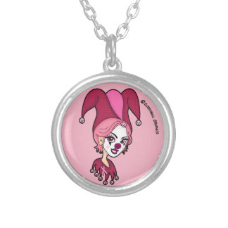 Pink Jester Silver Plated Necklace