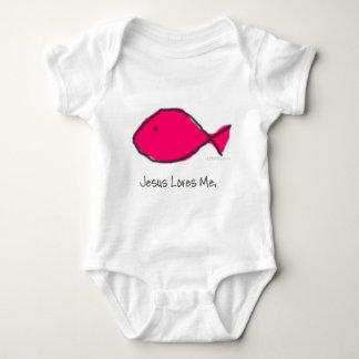 Pink Jesus Fish Baby Bodysuit