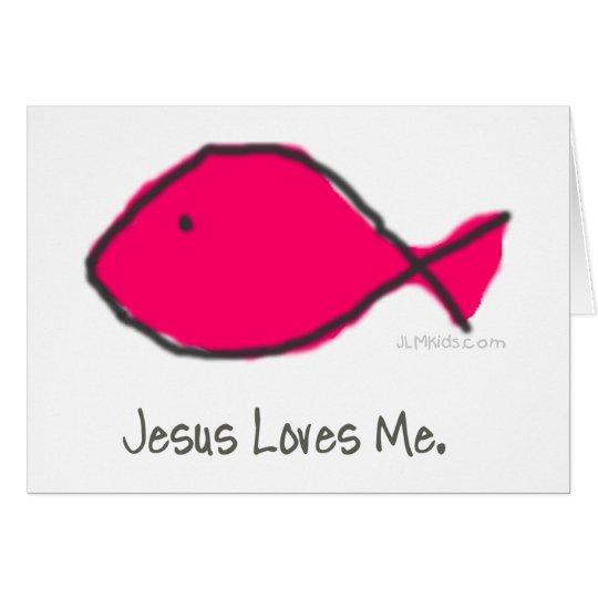 Pink Jesus Fish Card