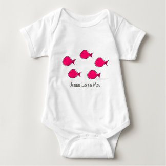 Pink Jesus Fishes Baby Bodysuit