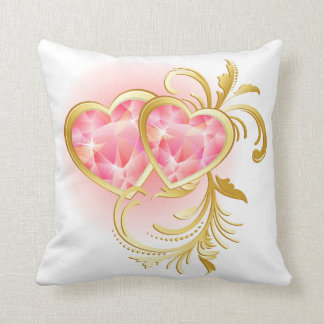 Pink Jewel Hearts American MoJo Pillow Throw Cushions