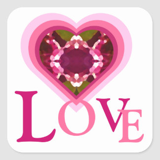 Pink Jewel Love Heart Square Sticker