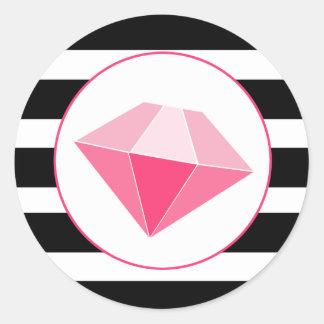 Pink Jewel With Black & White Stripes Sticker