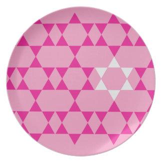 Pink Jewish Stars Dinner Plate
