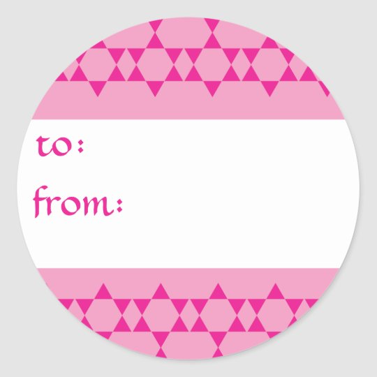 Pink Jewish Stars Gift Tags