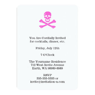 Pink Jolly Roger 5x7 Paper Invitation Card