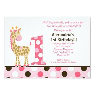"Pink Jungle Giraffe 1st Birthday Invitation 5x7 5"" X 7"" Invitation Card"