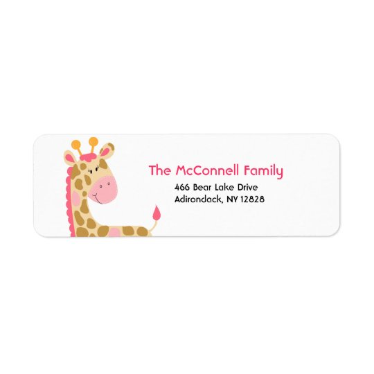 Pink Jungle Giraffe PRINTABLE ADDRESS LABELS