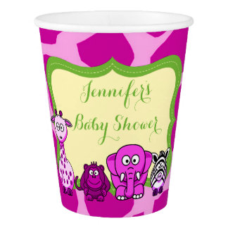 Pink jungle safari animal girl baby shower paper cup