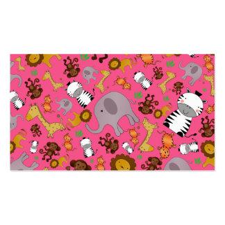 Pink jungle safari animals business cards