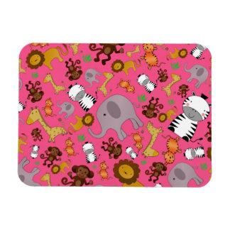 Pink jungle safari animals rectangular magnets