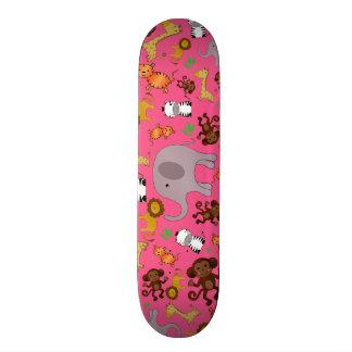 Pink jungle safari animals custom skate board