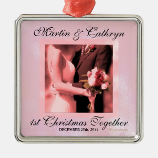 Pink Just Married 1st Christmas Custom Year Christmas Ornament