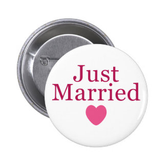 Pink Just Married 6 Cm Round Badge