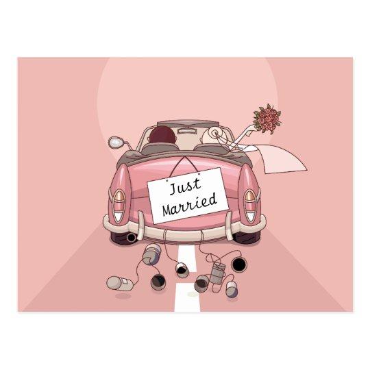 Pink Just Married Wedding Car Bride & Groom