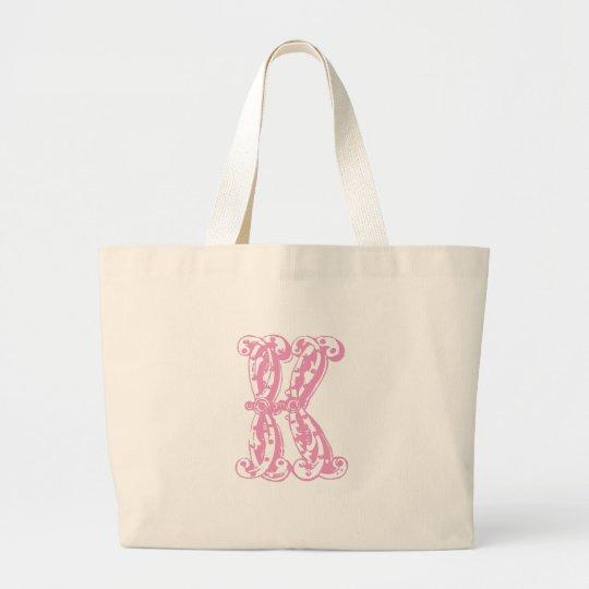 Pink K Monogram Letter Large Tote Bag